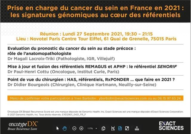 Prise en charge du cancer du sein en France en 2021 - les signatures génomiques
